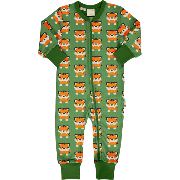 Maxomorra Tangerine Tiger rompersuit LS