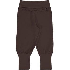 Maxomorra Pants Rib Solid CHOCOLATE